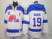 Mens nhl quebec nordiques #19 sakic white c patch hoodie Jersey