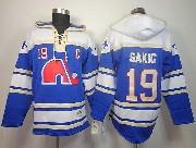 Mens nhl quebec nordiques #19 sakic blue c patch hoodie Jersey