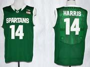 Mens Ncaa Nba Michigan State #14 Harris Green Jersey Gz