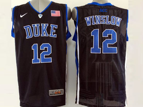 Mens Ncaa Nba Duke Blue Devils #12 Winslow Black (v Neck) Jersey