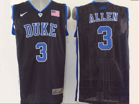 Mens Ncaa Nba Duke Blue Devils #3 Allen Black (v Neck) Jersey