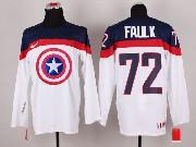 Mens nhl captain america #72 faulk white Jersey