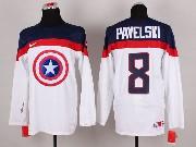 Mens nhl captain america #8 pavelski white Jersey