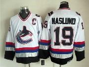 Mens nhl vancouver canucks #19 naslund white throwbacks Jersey