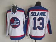 Mens nhl winnipeg jets #13 selanne white throwbacks(blue shoulder)Jersey
