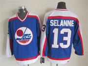 Mens nhl winnipeg jets #13 selanne blue throwbacks(white shoulder)Jersey
