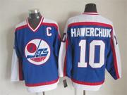 Mens Nhl Winnipeg Jets #10 Hawerchuk Blue Throwbacks(white Shoulder)jersey Dt With C Patch