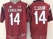 Mens Ncaa Nfl South Carolina Gamecock #14 C.shaw Red (sec) Jersey