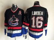 Mens nhl vancouver canucks #16 linden black throwbacks Jersey