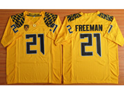 Mens Ncaa Nfl Oregon Ducks #21 Freeman Yellow (black Number) Jersey