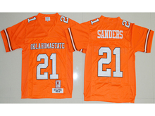 Mens Ncaa Nfl Oklahoma State Cowboys #21 Barry Sanders Orange Jersesy