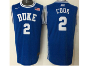 Mens Ncaa Nba Duke Blue Devils #2 Quinn Cook Blue (round Neck) Jersey