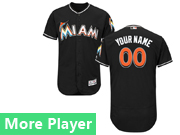 Mens Majestic Miami Marlins Black Flex Base Jersey