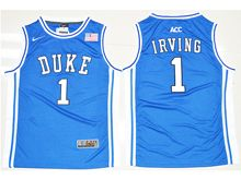 Mens Ncaa Nba Duke Blue Devils #1 Kyrie Irving Duke Blue Throwback (round Neck) Jersey