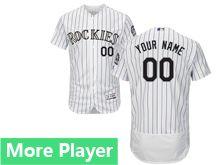 Mens Majestic Colorado Rockies White Stripe Flex Base Current Player Jersey