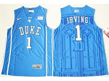 Mens Ncaa Nba Duke Blue Devils #1 Kyrie Irving Blue Authentic (v Neck) Jersey