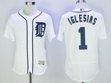 mens majestic detroit tigers #1 jose iglesias white Flex Base jersey