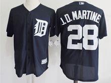 mens majestic detroit tigers #28 j.d.martinez dark blue Flex Base jersey