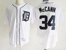 mens majestic detroit tigers #34 james mccann white Flex Base jersey
