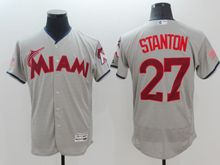 mens majestic miami marlins #27 giancarlo stanton gray fashion stars stripes Flex Base jersey