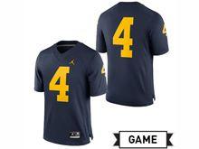 Mens Jordan University Of Michigan Football Navy #4 Game Jersey