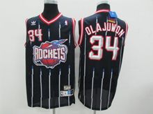 Mens Nba Houston Rockets #34 Olajuwon Blue Stripe Revolution 30 Jersey