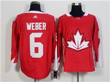 Mens Team Canada #6 Shea Weber Red 2016 World Cup Hockey Jersey