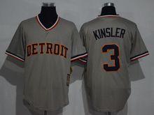 Mens Mlb Detroit Tigers #3 Ian Kinsler Gray Throwbacks Jersey(sn)