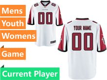 Mens Women Youth Nfl Atlanta Falcons White Game Current Player Jersey