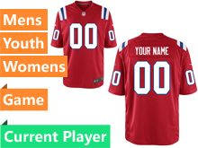 Mens Women Youth Nfl New England Patriots Red Game Current Player Jersey