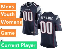Mens Women Youth Nfl New England Patriots Blue Game Current Player Jersey