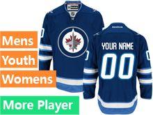 Mens Women Youth Reebok Winnipeg Jets Blue Home Premier Current Player Jersey