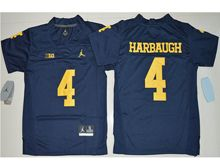 Youth Ncaa Nfl Jordan Brand Michigan Wolverines #4 Jim Harbaugh Navy Blue Limited Jersey