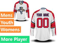 Mens Women Youth Reebok Florida Panthers White Away Premier Current Player Jersey