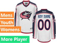 Mens Women Youth Reebok Columbus Blue Jackets White Away Premier Current Player Jersey