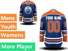 Mens Women Youth Reebok Edmonton Oilers Blue Home Premier Current Player Jersey