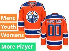 Mens Women Youth Reebok Edmonton Oilers Orange Alternate Premier Current Player Jersey