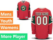 Mens Women Youth Reebok Minnesota Wild Red Home Premier Current Player Jersey