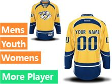 Mens Women Youth Reebok Nashville Predators Gold Home Premier Current Player Jersey