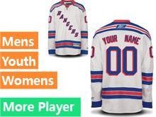 Mens Women Youth Reebok New York Rangers White Away Premier Current Player Jersey