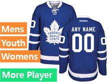 Mens Women Youth Reebok Toronto Maple Leafs Royal Blue Home 2016 Premier Current Player Jersey