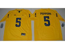 Mens Ncaa Nfl Jordan Brand Michigan Wolverines #5 Jabrill Peppers Yellow Limited Jersey