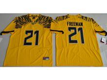 Mens Ncaa Nfl Oregon Ducks #21 Royce Freeman Yellow Color Rush Limited Jersey