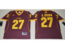 Mens Ncaa Nfl Michigan Chippewas #27 Antonio Brown Red Jersey