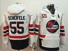 Mens Reebok Winnipeg Jets #55 Mark Scheifele White Hoodie