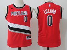 Youth Nba Portland Trail Blazers #0 Damian Lillard Red Jersey