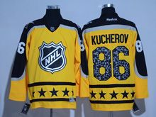 Mens Reebok Tampa Bay Lightning #86 Nikita Kucherov Yellow 2017 All Star Hockey Jersey