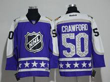 Mens Reebok Chicago Blackhawks #50 Corey Crawford Purple 2017 All Star Hockey Jersey