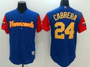Mens Mlb Venezuela Team 2017 Baseball World Cup #24 Cabrera Blue Jersey