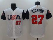 Mens Mlb Usa Team 2017 Baseball World Cup #27 Stanton White Jersey